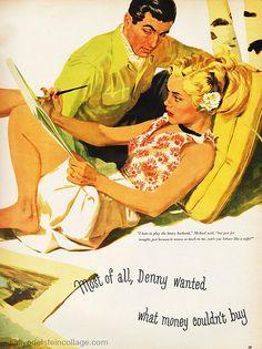 "vintagegaze: ""Illustration by Larry Harris. Magazine short story by Margaret Hammel. From September 1951 McCalls. Romance Art, Vintage Romance, Vintage Art, Vintage Paintings, Vintage Illustration Art, Magazine Illustration, Vintage Comics, Vintage Posters, Vintage Labels"