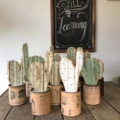 Lista la tanda de cactus a pedido! Diy Home Crafts, Diy Crafts To Sell, Wood Crafts, Cactus Craft, Cactus Decor, Small Wood Projects, Creation Deco, Home And Deco, Handmade Furniture