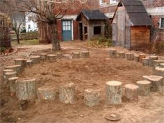 Stump circle could serve as stepping/climbing area or lecture seating!