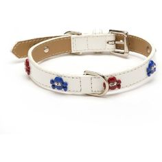 Enamel Skull America Straight Dog Collar, Medium Size 11-14, White Patent with Red and Blue Crystal Skulls -- Click image for more details. (This is an affiliate link) #CollarsHarnessesLeashes