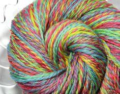 Handspun Yarn - Confetti - Falkland Wool, Worsted Weight, 495 yards. $75.00, via Etsy.