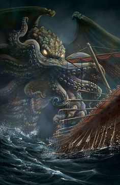 """Cthulhu is a fictional deity created by writer H. Lovecraft and first introduced in the short story """"The Call of Cthulhu"""", published in the pulp magazine Weird Tales in … Call Of Cthulhu, Sea Monsters, Lovecraftian Horror, Cosmic Horror, Lovecraft Cthulhu, Eldritch Horror, Fantasy Monster, Monster Art, Dark Fantasy Art"""
