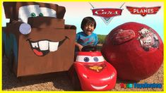 nice Disney Cars Toys GIANT EGG SURPRISE OPENING Lightning McQueen Tow Mater Kids Video Ryan ToysReview