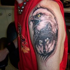 Eagle and Wolf shoulder tattoo - #tattoos #tattoosformen