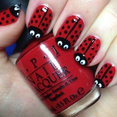Lady birds, want to try this now! Need a white nail art pen – Katrina Rebeca Lady birds, want to try this now! Need a white nail art pen Lady birds, want to try this now! Need a white nail art pen Manicure Nail Designs, Red Nail Designs, Simple Nail Art Designs, Short Nail Designs, Easy Nail Art, Nail Manicure, Nail Polish, Manicure Ideas, Nails Design