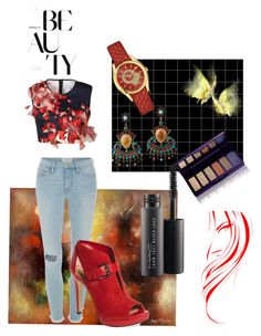 """""""Reddy or Not"""" by queenie13itch on Polyvore featuring NOVICA, Clover Canyon, Frame Denim, MICHAEL Michael Kors, MAC Cosmetics, By Terry and Salvatore Ferragamo"""