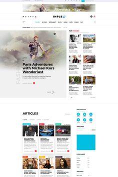 Impleo - Magazine & News Homepage PSD Template Homepage Design, Design Web, Wordpress Theme Design, For Everyone, Psd Templates, Design Bundles, Photoshop, Magazine, Adventure