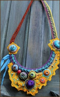 Hand made fabric necklace