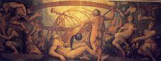Giorgio Vasari. La castración de Urano. 1555/59. Pintura Mural del Palacio Viejo, En la sala de Cosme I de Medici. Florencia.