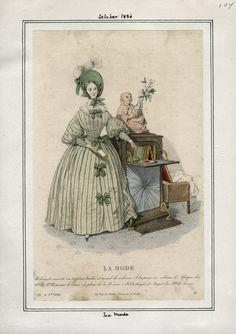 1836 -green stripe fabric, big bows