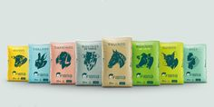 "A modern animal food brand creates a line of food with convenience in mind.  Designed by ""MIND"", kibble is packaged into colorful sacks adorn with the  bust of each farm animal for easy identification."