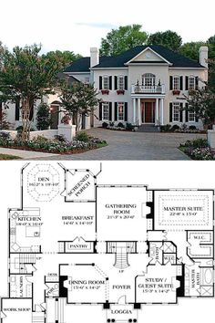 Two-Story Georgian Home with Twin Chimneys (Floor Plan) Luxury Floor Plans, Luxury House Plans, Dream House Plans, Modern House Plans, 6 Bedroom House Plans, Dream Houses, Colonial House Plans, French Country House Plans, Southern House Plans
