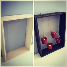 A shadow box before and after with a rustic, country twist.