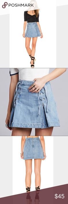 NWT Free People denim skirt ✌ Brand new Free People lace up denim skirt in light denim color, the best skirt for summer, great with a crop top or bodysuit! ✌ Free People Skirts Mini