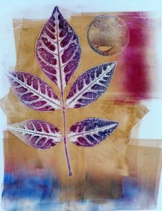 """Maggie Faughnan Kerby's """"leaf print"""". So beautiful! She shares """"This is a real botanical print. This one was made by pre-inking the back of the leaf. I ink the plate with the background colors and add the leaf on top. I pull a print and (without removing the paper all the way) remove the leaf. pull again"""""""