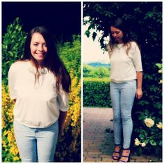 Cos white top and Topshop patterned jeans Patterned Jeans, White Tops, Cos, Capri Pants, Topshop, Ruffle Blouse, Beauty, Women, Fashion