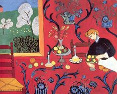 """Can you find 5 altered things in this version of """"The Red Room (Harmony In Red),"""" 1908, by Henri Matisse?  Click on the image to see it side-by-side with the original."""