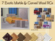 These files will recolor the wood/base of all my Indian Inspired objects in a rich, hand carved design. Choose from various exotic marble or wood designs.  Found in TSR Category 'Objects'