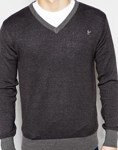 Enlarge Ringspun Sweater with V Neck