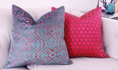 Pink Pillow Cover Raspberry Pink Geometric Pillow by MotifPillows