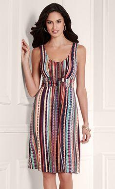 Fireworks Show: Soma Wrapped Waist Short Dress in Fiesta Stripe Multi My Soma Wish List Sweeps