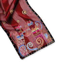 Loving this Blue & Crimson Cats Silk Scarf on #zulily! #zulilyfinds