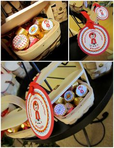 Little Red Riding Hood:  mini baskets as party gifts/favors