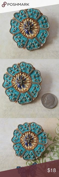 Vintage Handmade Embroidered Brooch pin Very unusual find. A Vintage Brooch that has been embroidered and beaded by hand. Really great condition front and back with no pulls in the threads. Estate find. Her daughter said it dates to the 1940's when her mom made them to sell and give as gifts. She kept a few for herself and this is one of them. 💖💖 Special, unusual, a thoughtful gift for the vintage brooch lover.  Muslin backing. Pin back works great. Vintage Jewelry Brooches