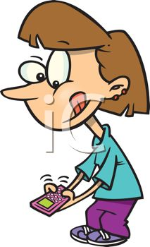 Royalty Free Clipart Image of a Girl Texting
