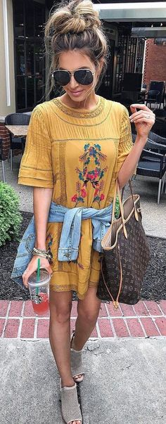 #summer #outfits  Yellow Floral Tee Dress + Grey Open Toe Booties ✌️