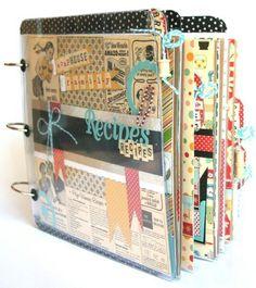 I want to make a scrapbook recipe book! Scrapbook Recipe Book, Mini Scrapbook Albums, Scrapbook Cards, Mini Albums, Family Recipe Book, Diy Recipe Book, Homemade Recipe Books, Homemade Cookbook, Cuisines Diy