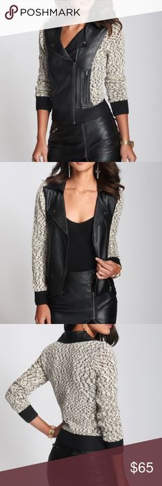 Glitter-Bouclé Moto Sweater Jacket by GUESS A must-have piece for in-between seasons, this mixed-media style blends the look of a jacket with the feel of a sweater. Trend-driven moto styling and metallic thread add the extra special details that set you apart. Fold-down collar. Long sleeves. Faux-leather front with two zipper pockets. Contrast sleeve cuffs and hem. Metallic thread throughout. Off-center zipper closure. Lined. 84% Cotton, 15% Polyester, 1% Other. Faux Leather: 100%…