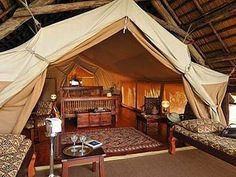 Finch Hattons, Kenya, Africa Luxury rustic safari camp tents glamping www. Camping Glamping, Luxury Camping, Camping Resort, Camping Ideas, Camping Tent Decorations, Cabana, Wall Tent, Tent Room, British Colonial Decor