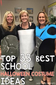 Top 33 Best School Halloween Costume Ideas Do you need some ideas for your school Halloween costume? Teachers from all over share their Halloween costume ideas. Great grade level team costumes that are practical and appropriate for elementary school. Halloween Costumes For Work, Halloween School Treats, Hallowen Costume, Halloween Activities, Easy Halloween, Halloween Party, Halloween Tricks, Homemade Halloween Costumes, Costumes Kids