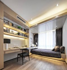 Apartments: Small Bedroom Decor Wooden Floor Dark Grey Bedsheet Large Glass Windows Dark Gray Curved Bookshelving Wall Table Black Chair White Flowers: 3 Plans by LoveDesign - A Certifiable Men Wonderful Take