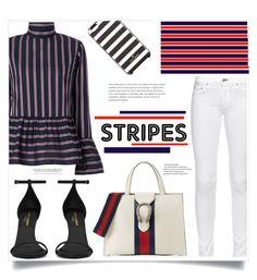 """stripes!!!!"" by jenningsseton ❤ liked on Polyvore featuring Le Sarte Pettegole, rag & bone, Yves Saint Laurent, Gucci and Kate Spade"