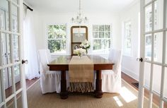 A Country Farmhouse: Dining Room - After - Oh to have this much natural light in a room in my house!  sigh