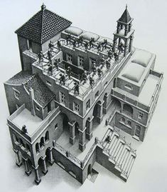 #Escher - This hat is based on the picture of the staircase. It ascends, but…