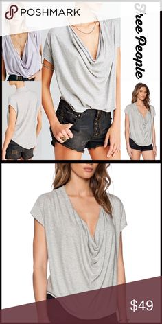 """FREE PEOPLE TEE Cowl Neck Top 💟NEW WITH TAGS💟  FREE PEOPLE TEE Draped Cowl Neck Top   * A flowy, relaxed, & subtly oversized style  * Incredibly soft, stretch-to-fit fabric  * Draped cowl neck & short sleeves  * About 23-26"""" long, hi-lo hem  * Lightweight & super soft Peruvian cotton  * Subtly distressed Fabric: Cotton, 50% modal  Color: Lilac Item: T-Shirt 🚫No Trades🚫 ✅Offers Considered*/Bundle Discounts✅ *Please use the 'offer' button to submit an offer. Free People Tops Crop Tops"""