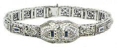 Art Deco Style Sterling Silver Filigree Link Sapphire and Cubic Bracelet