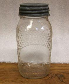 Old Glass Bottles, Antique Bottles, Bottles And Jars, Glass Canisters, Kitchen Canisters, Kitchen Storage, Canning Jars, Mason Jars, Vintage Shops