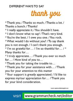 """Different ways to say """"thank you"""" English English Learning Spoken, Learn English Grammar, English Vocabulary Words, Learn English Words, English Phrases, English Idioms, English Language Learning, English Study, English Lessons"""