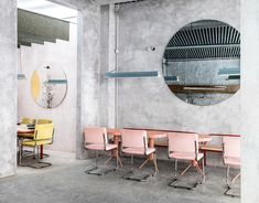 The interior of the Spanish restaurant Casaplata, byLucas y Hernández-Gil, softens a typically chilly material with saturated colors and tactile surfaces.