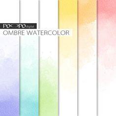 Ombre digital paper watercolor watercolour texture gradient soft pastel subtle background hand painted invite printable scrapbook paint DIY
