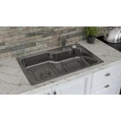Glacier Bay All In One Drop In Stainless Steel 33 In. 4 Hole Single Bowl  Kitchen Sink
