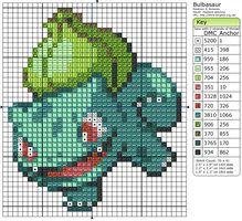 Pokemon cross-stitching.