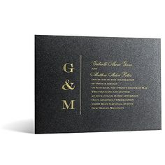 Classical Monogram in Foil Print - Onyx Shimmer - Invitation