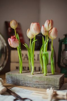 Romantic flower vase wooden with glass tubes for wedding decoration