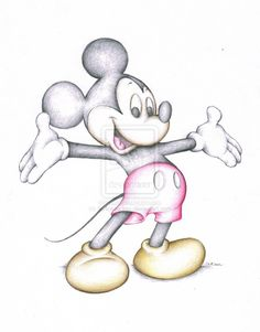 Disney Mickey Mouse Art Coloured Pencil Drawing Sketch HQ Signed A4 Glossy Print. 5.99, via Etsy.