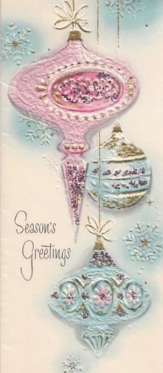 Gorgeous Glittered Pastel Pinks & Blues Xmas Ornaments, Vintage Christmas Card! | eBay